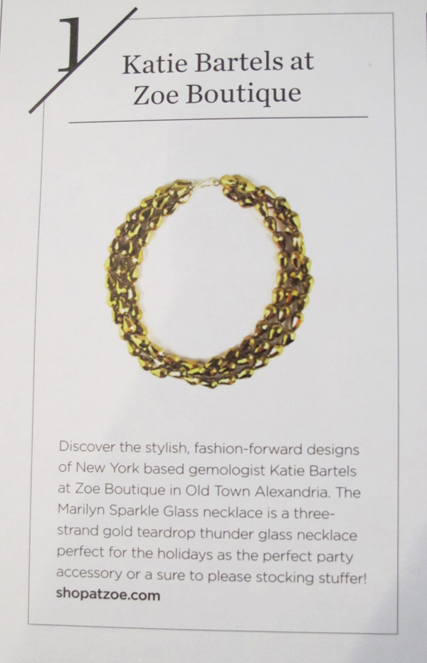 Marilyn necklace featured in Modern Luxury's DC Magazine
