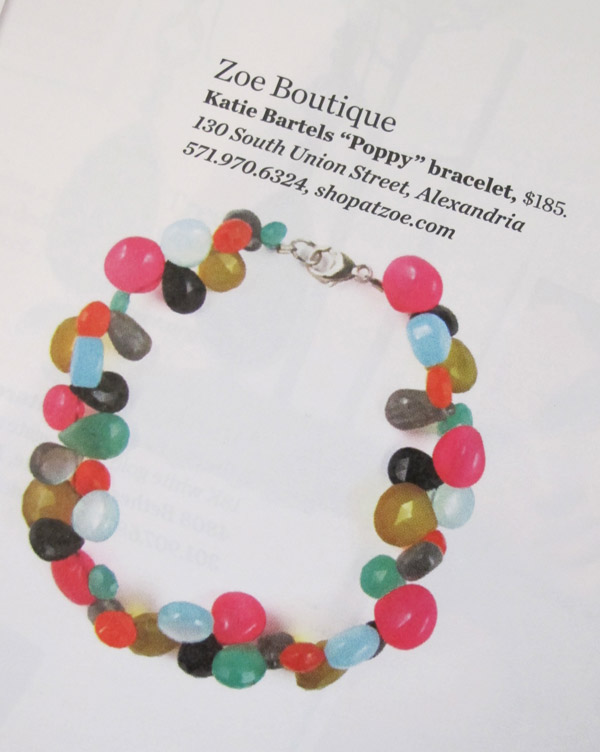 Poppy Bracelet featured in Modern Luxury's DC Magazine