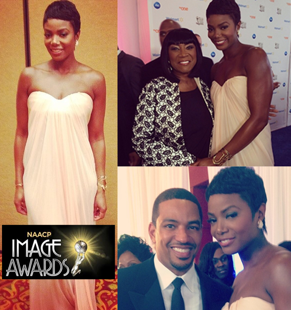 Tai Beauchamp wears the Katie's Finds freshwater pearl earrings to the Image Awards