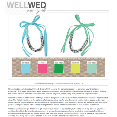 WellWed features the Natalie necklace in an exclusive giveaway